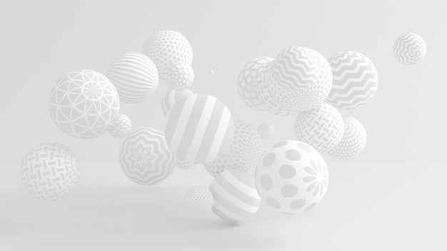 Fundo branco com bolas. ilustração 3d, renderização em 3d.