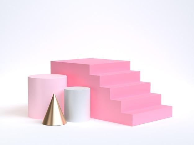Fundo branco com formas geométricas de ouro rosa suaves e escada rosa