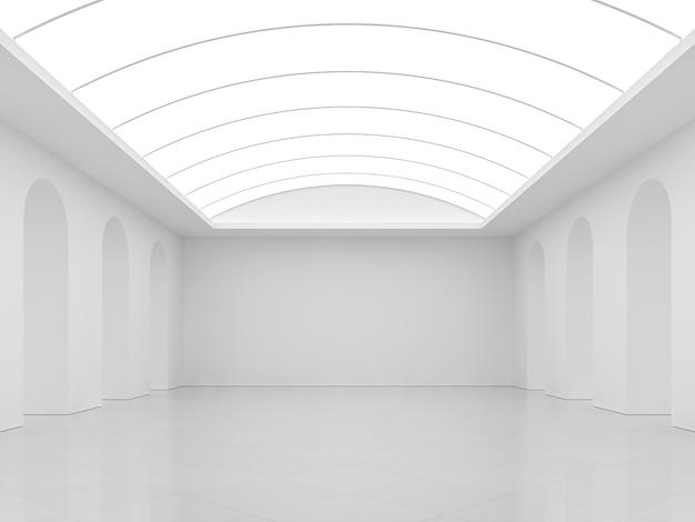 Fundo branco com sala interior moderna 3d render, piso de ladrilho branco, paredes pintadas de branco e tetos em arco fluorescentes.