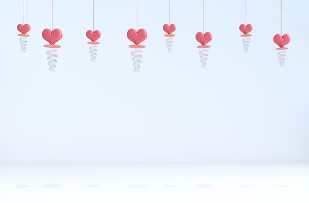 Fundo branco de amor. coração vermelho, lâmpada no dia dos namorados.