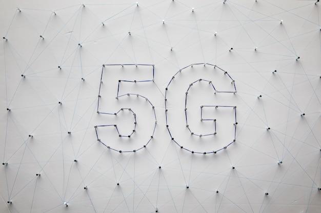 Fundo branco de tecnologia 5g