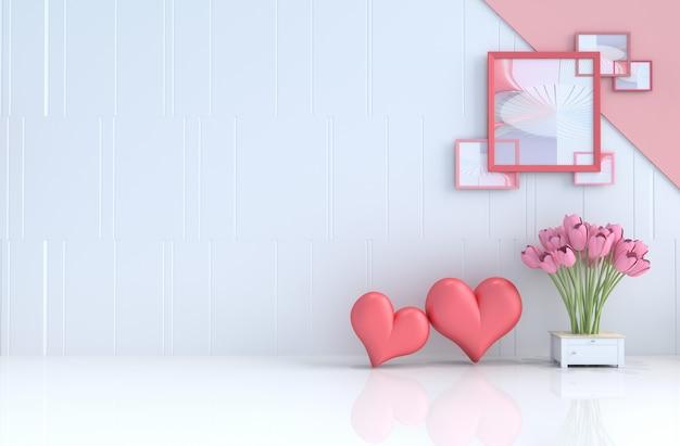 Fundo branco do amor no dia de valentim e no ano novo. renderização 3d.