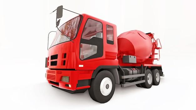 Fundo branco do caminhão do misturador de concreto vermelho. ilustração tridimensional de equipamentos de construção. renderização 3d.