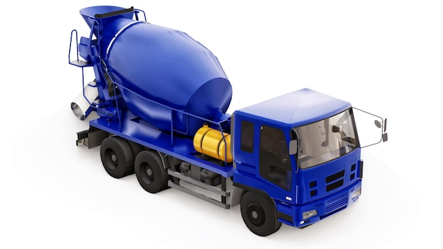 Fundo branco do caminhão misturador de concreto azul. ilustração tridimensional de equipamentos de construção. renderização 3d.