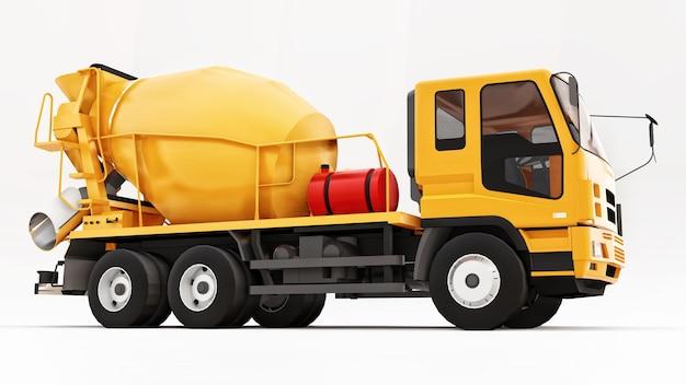 Fundo branco do caminhão misturador de concreto laranja. ilustração tridimensional de equipamentos de construção. renderização 3d.