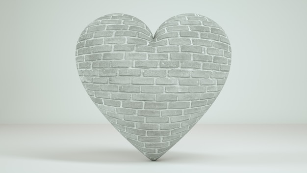 Fundo branco do coração 3d rende