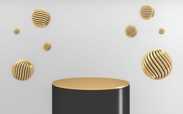 Fundo branco e preto mínimo podium eometric. renderização 3d