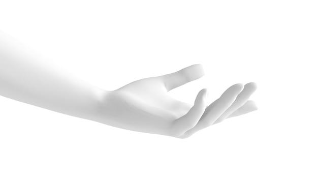 Fundo branco gesto com a mão 3d. renderização 3d, ilustração 3d.
