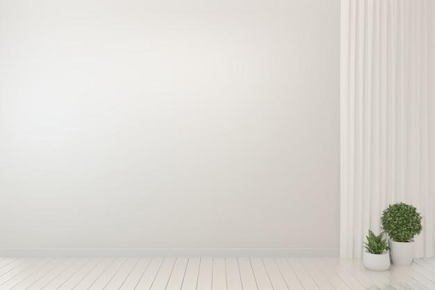 Fundo branco interior e plantas da sala vazia.