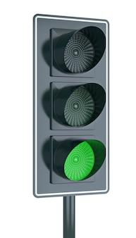 Fundo branco isolado do conceito do semáforo. renderização 3d