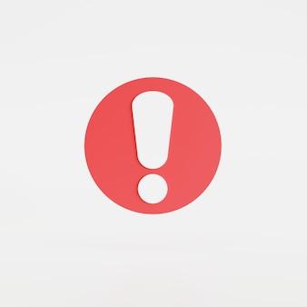 Fundo branco isolado do ícone de exclamação, botão, ícone do aplicativo móvel. ilustração 3d render