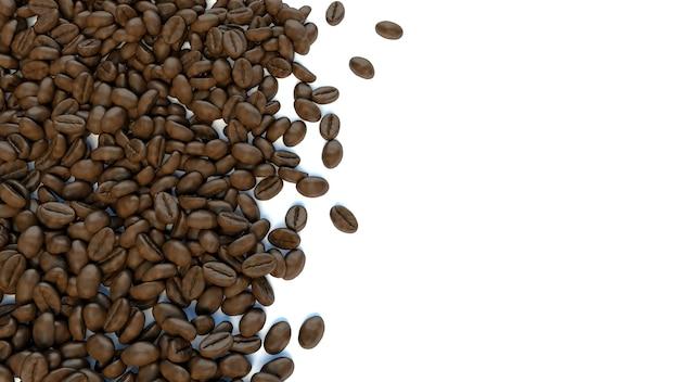 Fundo branco para texto rodeado de grãos de café