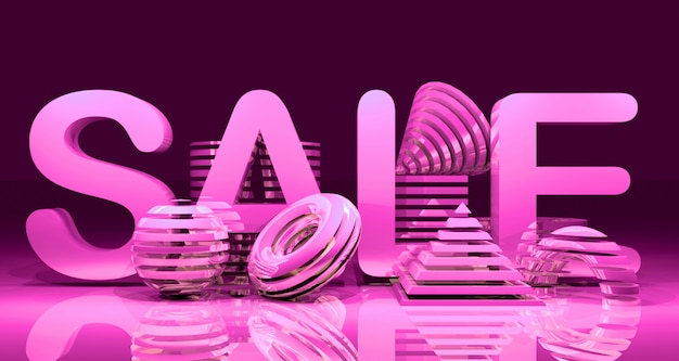 Fundo brilhante abstrato geométrico vendas banner. renderização em 3d.