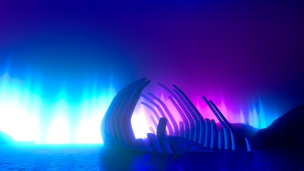 Fundo brilhante de néon criativo, conceito de poluição ambiental. o esqueleto do grande peixe deitado no mar e a silhueta do homem em um barco, com luzes de néon violeta vibrante azul rosa.