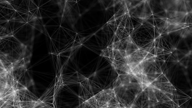 Fundo cinza digital em wireframe monocromático conexão de estrutura de rede poligonal