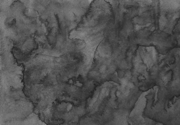 Fundo cinza escuro e preto da aquarela. pano de fundo líquido monocromático. manchas no papel, pintadas à mão.