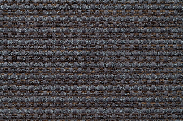 Fundo cinzento escuro da matéria têxtil quadriculado do teste padrão, close up. estrutura da macro de tecido de vime.