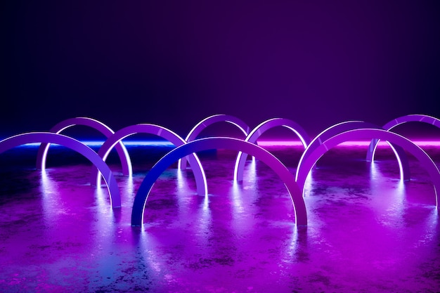 Fundo, círculos abstratos de luzes de néon