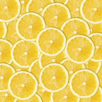 Fundo cítrico abstrato padrão sem emenda de rodelas de limão amarelo