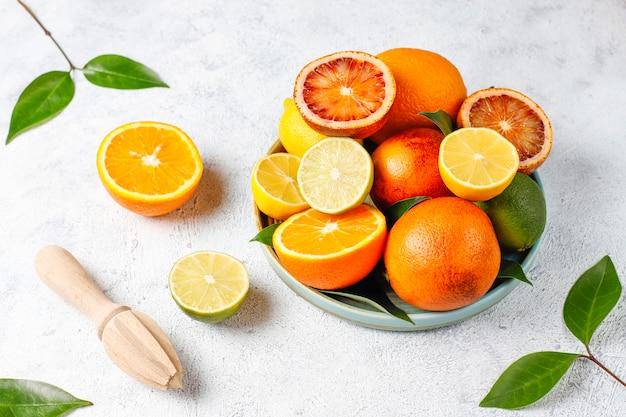 Fundo cítrico com citrinos frescos variados