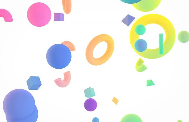 Fundo colorido abstrato da arte 3d. formulário de forma geométrica holográfica flutuando sobre fundo branco isolado. estilo de memphis.