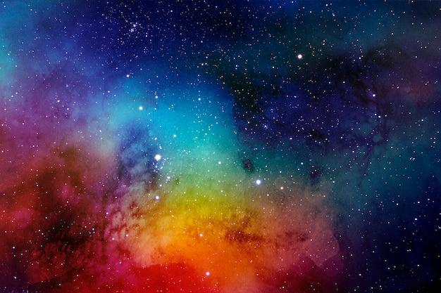 Fundo colorido aquarela do espaço com nebulosa e estrelas brilhantes