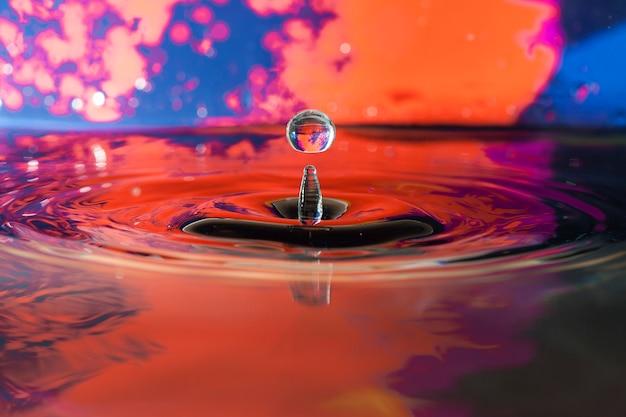 Fundo colorido com gota de água