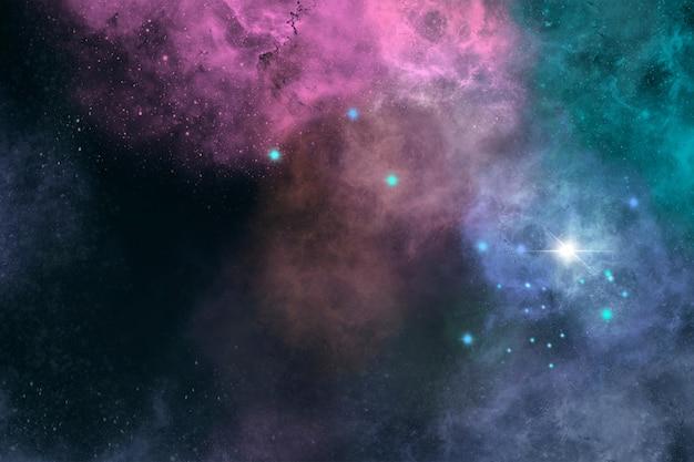 Fundo colorido da galáxia com estrelas brilhantes