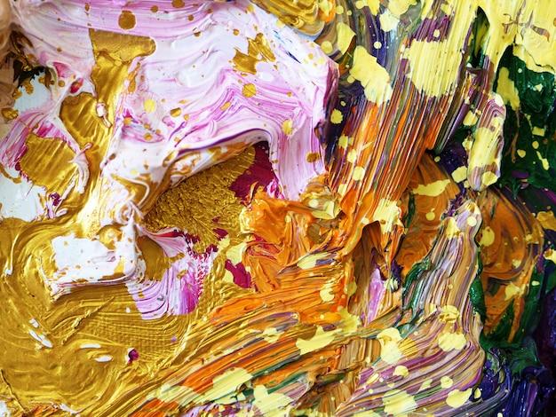 Fundo colorido da pintura de óleo do ouro e textured.