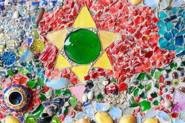 Fundo colorido da textura da parede do vidro e da telha, arte do mosaico