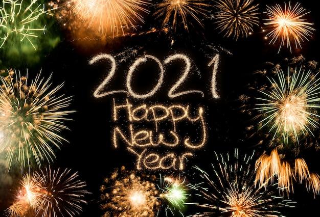 Fundo colorido de fogos de artifício de ano novo de 2021