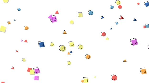 Fundo colorido de memphis, quadrados geométricos abstratos e pontos. estilo dinâmico elegante e luxuoso para negócios e modelos corporativos, ilustração 3d