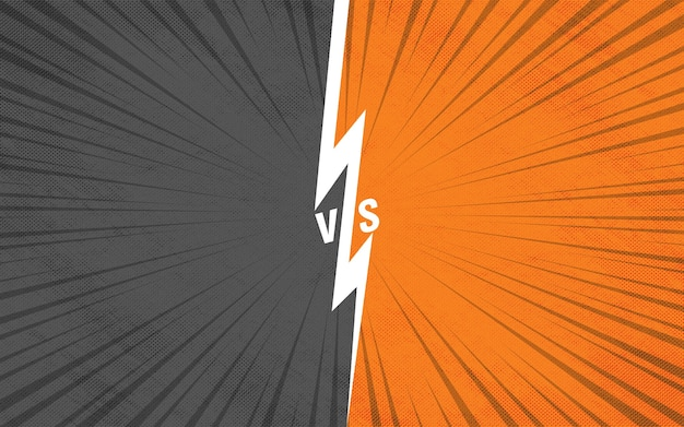 Fundo colorido de raios de zoom em quadrinhos cinza versus laranja
