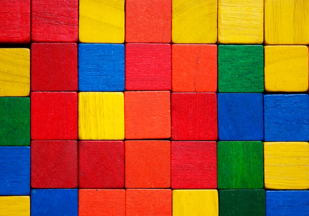 Fundo colorido do bloco de madeira.