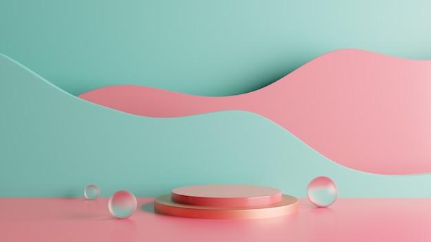 Fundo colorido do palco do pódio da renderização 3d com bolhas. foto premium