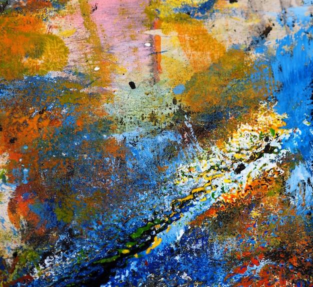Fundo colorido do sumário da pintura a óleo da textura da tração da mão.