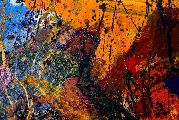 Fundo colorido e textura do sumário da pintura a óleo.