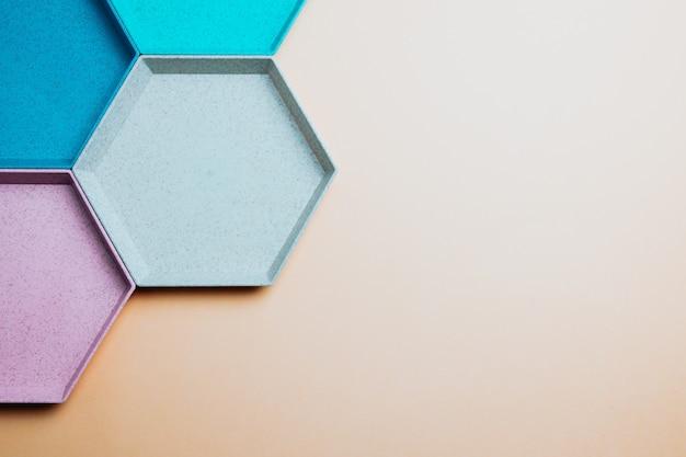 Fundo colorido geométrico do hexágono abstrato. minimalismo de cores pastel. copiar banner de espaço