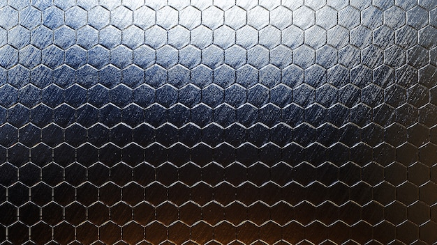 Fundo colorido hexágono metálico com textura real