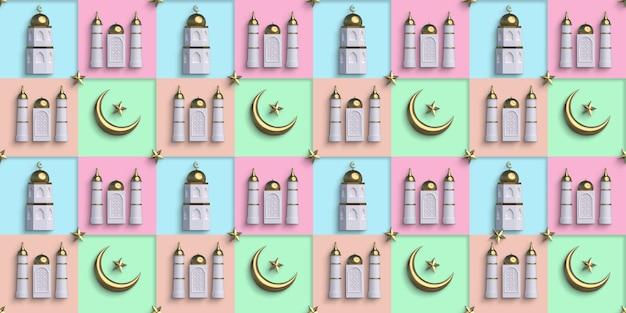 Fundo colorido islâmico ouro padrão sem emenda