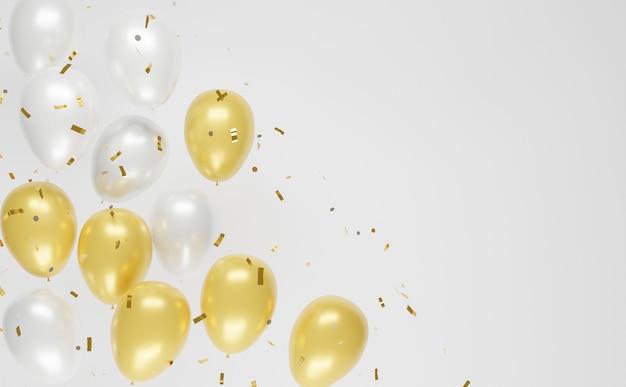 Fundo com balões de ouro e prata e confetes caindo com copyspace. renderização 3d