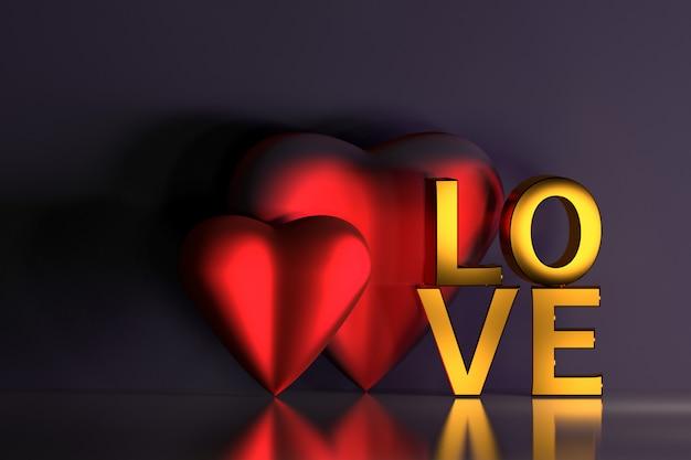 Fundo com cartas de amor e dois corações vermelhos no escuro