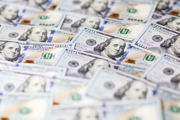 Fundo, com, dinheiro, cem notas dólar
