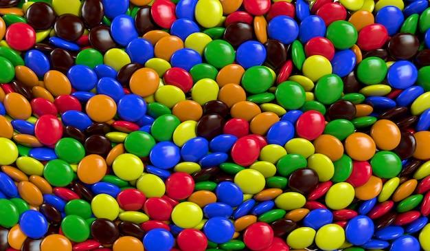 Fundo com doces coloridos. ilustração de renderização 3d.
