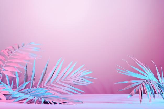 Fundo com folhas de palmeira abstrata