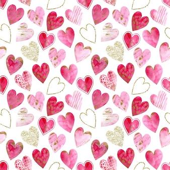 Fundo com glitter dourado aquarela e corações rosa