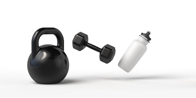 Fundo com halteres e garrafa para bebida esporte e fitness após o trabalho exercício na academia