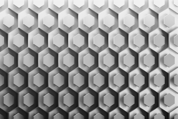 Fundo com hexágonos arranjados ordenadamente abstratos em preto e branco