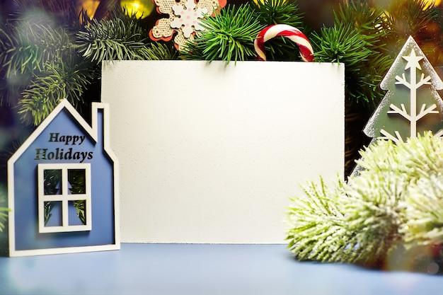 Fundo com maquete de espaço de cópia. feliz natal e feliz ano novo.