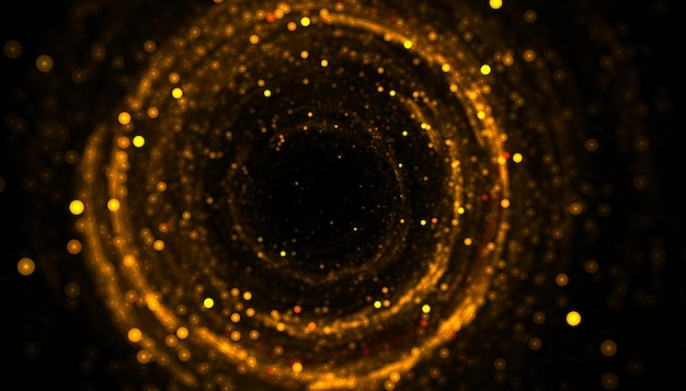 Fundo com moldura circular de partículas cintilantes de glitter dourado